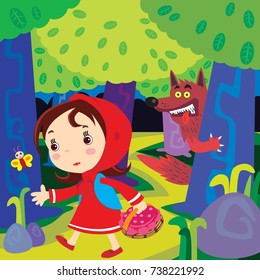 Vector illustration of the Fairy tale Little Red Riding Hood. Back Ground and main frame are in separate layers, easy editable top space suitable for copy…..