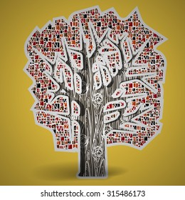 Vector illustration of fairy tree of knowledge, which instead of leaf pattern of letters