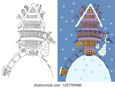 Vector illustration of the fairytale hotel on a hill. A scene in winter with snow and icicles and with the cableway. Hand drawn picture. Sketch for anti-stress adult coloring book.