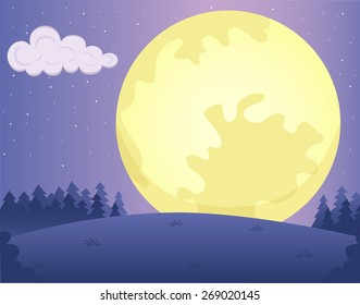 Vector illustration of fairytale night nature landscape with meadow, trees, clouds, bush and big mystic yellow moon.