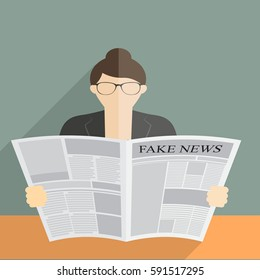 vector illustration of fake news media press element