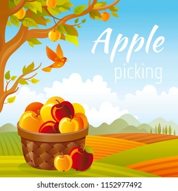 Vector illustration. Fall landscape poster with apple tree, full basket, bird and farm garden element. Realistic 3d banner for apple picking or harvest festival with autumn symbols. Cute cartoon style