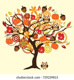 vector illustration of a fall tree with autumn elements and animals.