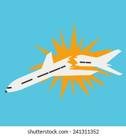 Vector illustration with falling airplane and fire explosion