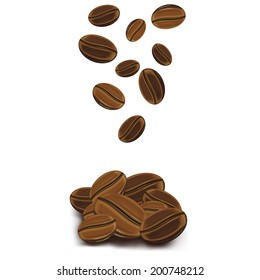 Vector illustration of falling coffee beans on white background