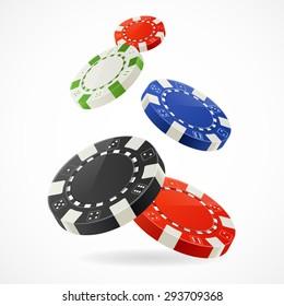Vector illustration Falling down over Gambling Poker Chips