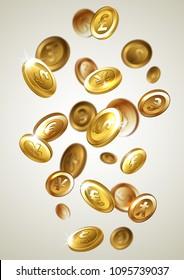 Vector illustration - falling golden coins