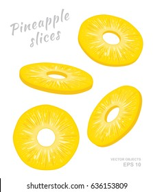 Vector illustration of falling pineapple slices isolated on white background. A cut rings of fresh exotic fruit. Set of four Different angles of view. Natural eco product