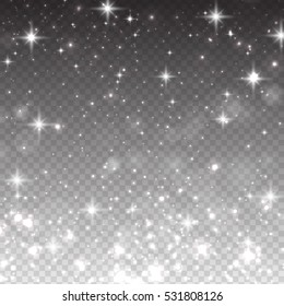 Vector illustration with falling stars, isolated on transparent background