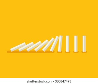 Vector illustration of falling white dominoes on yellow background