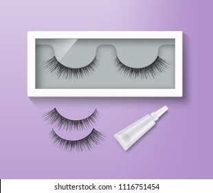 Vector illustration of false eyelashes in packaging and glue tube. Pair of black long lashes on purple background