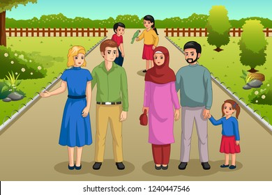 A vector illustration of Families Enjoying the Park Outdoors