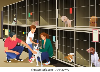A vector illustration of Family Adopting a Dog from Animal Shelter
