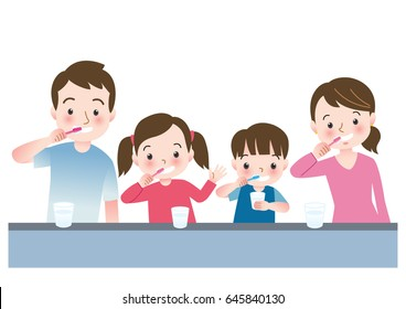 Vector illustration of Family Brushing Their Teeth Together Before Bedtime
