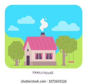 Vector illustration of family house with smoke from the chimney, tree, swing, grass, cloud. Summer house cartoon concept. Flat style design for web, site, banner