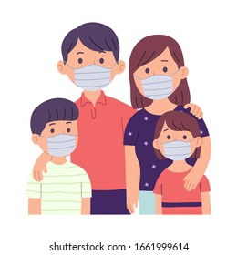 vector illustration of a family with a mother, father and two children who wear masks because they are sick or protect themselves from pollution, bacteria or viruses in the air and the environment