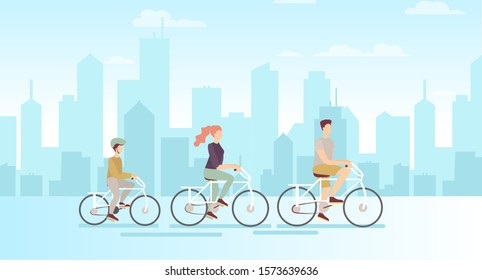 Vector illustration of family on bicycles on big modern city background. Father mother and son riding on bicycles, flat cartoon style.