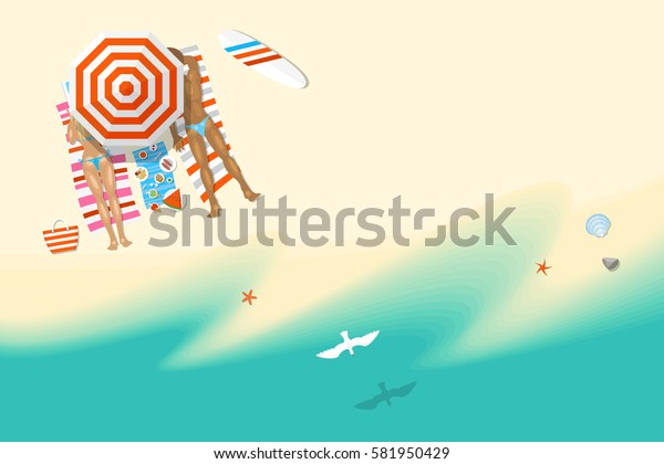 Vector illustration. Family on the sunny beach. (top view) Summertime - sea, sand, umbrellas, towels, objects. (view from above)