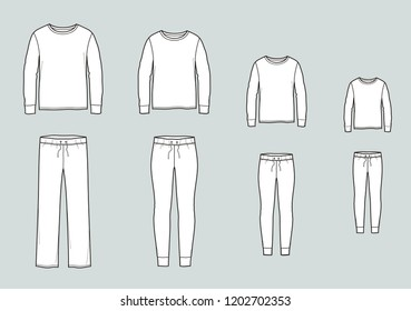 Vector illustration of family pajamas set. Men's, women's, child's night suit. Jumper and pants
