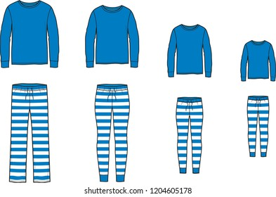 Vector illustration of family pajamas set. Men's, women's, child's night suit. Jumper and striped pants