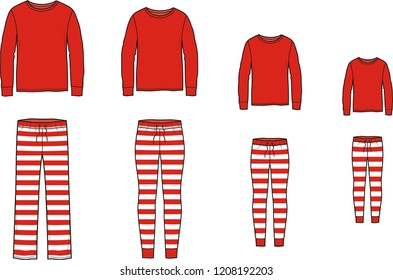 Vector illustration of family pajamas set. Men's, women's, child's night suit. Jumper and striped pants in christmas style.