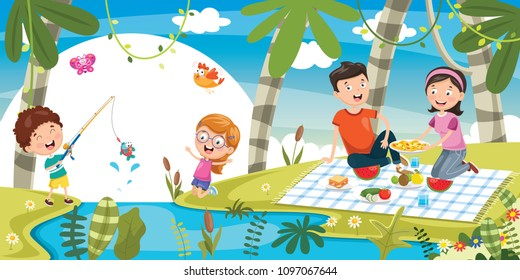 Vector Illustration Of Family Picnic