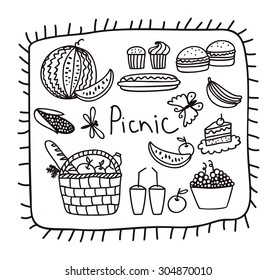 Vector illustration family picnic. Picnic icons set in cartoon style.