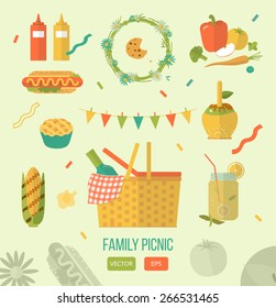 Vector illustration family picnic. Summer, spring barbecue and picnic icons set. Flat style. Snacks, vegetables, healthy food. Party items, decorations. Romantic dinner, lunch for lovers outdoors.