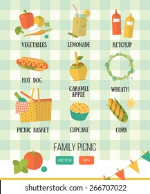 Vector illustration family picnic. Summer, spring barbecue and picnic icons set. Flat style. Snacks, vegetables, healthy food on checkered tablecloth. Party items, decorations, food. Romantic dinner.