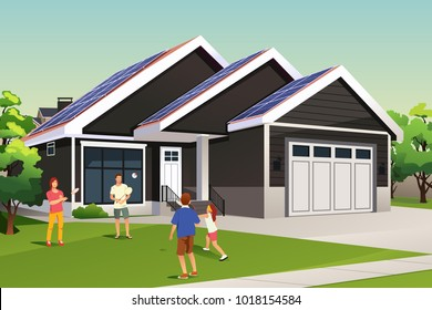 A vector illustration of Family Playing Outside Their Home with Solar Roof