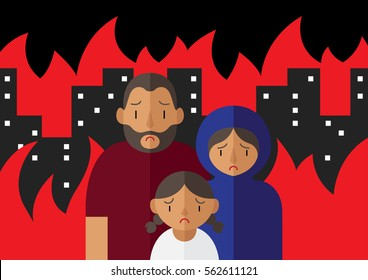 Vector illustration of family of refugees containing sad father, mother and a young daughter standing in the middle of a burning war torn city.