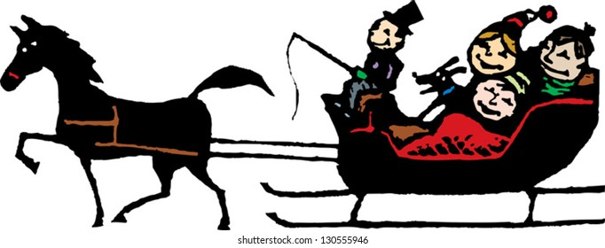 Vector illustration of a family riding in an one horse open sleigh