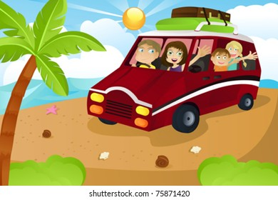 A vector illustration of a family riding a van leaving for summer vacation