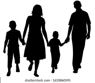 Vector illustration of a family. Silhouette of father and mother and son