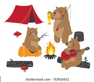 Vector illustration of a family of three bears gathered around bonfire and camping outdoors