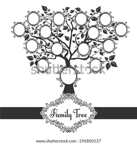 Vector Illustration Family Tree Black Stock Vector