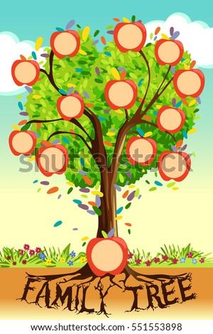 vector illustration family tree template のベクター画像素材