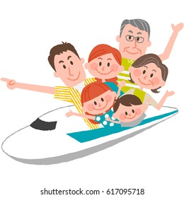 a vector illustration of the family trip by train