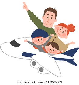 a vector illustration of the family trip by airplane