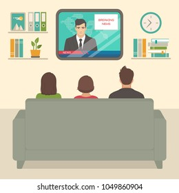 vector illustration of  family tv watching at home, people sitting on sofa watching television in room