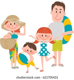 vector illustration of a family vacation on the beachfront