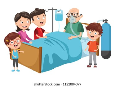 Vector Illustration Of Family Visit Grandfather At Hospital