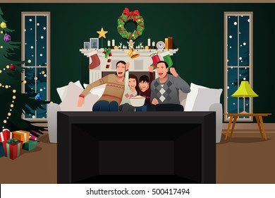 A vector illustration of Family Watching TV During Christmas Season