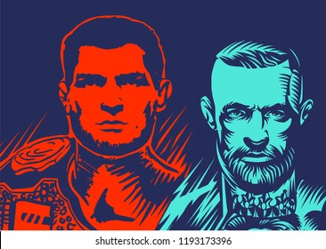 Vector illustration of famous boxing fighters and MMA Conor McGregor and khabib nurmagomedov. UFC match