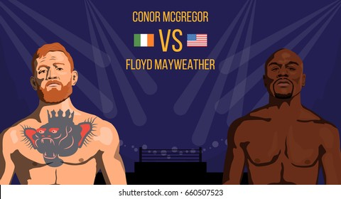 Vector illustration of famous boxing fighters and MMA Conor McGregor and Floyd Mayweather. Boxing match