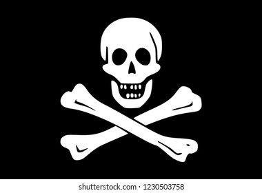 Vector illustration of the famous flag of the pirates (Jolly Roger) with the symbolic white skull and crossed bones isolated on black