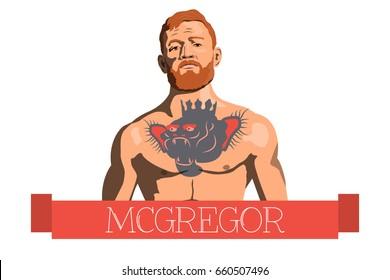 Vector illustration of the famous Irish fighter mma Conor McGregor