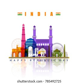 vector illustration of famous monument of India on tricolor Indian background