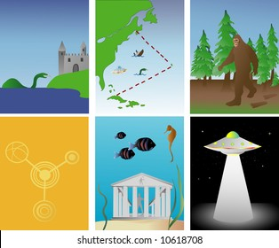 vector illustration of famous mysterious and paranormal events around the world