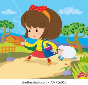 Vector Illustration Of The Famous NURSERY RHYME Mary Had A Little Lamb Back Ground And